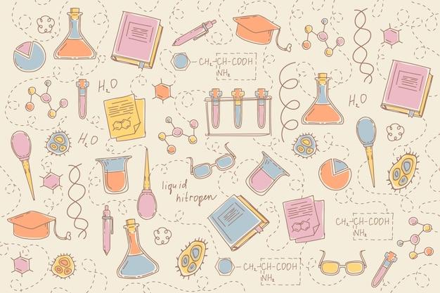 手描きの科学教育の背景 無料ベクター