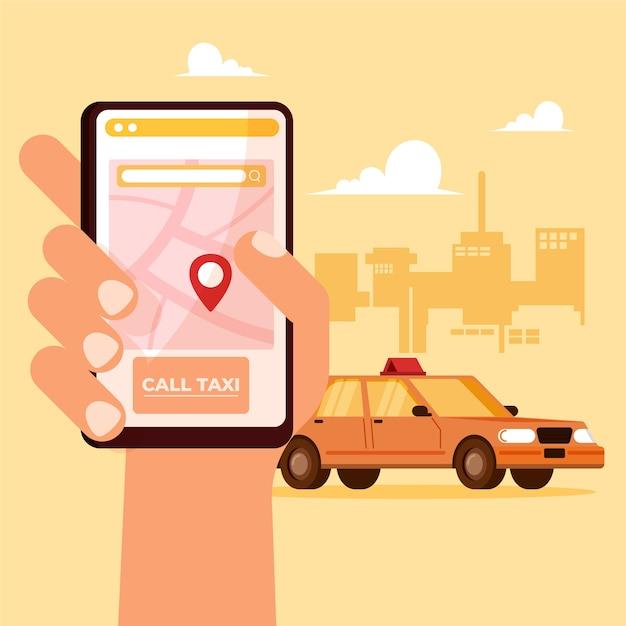 タクシーアプリのコンセプト 無料ベクター