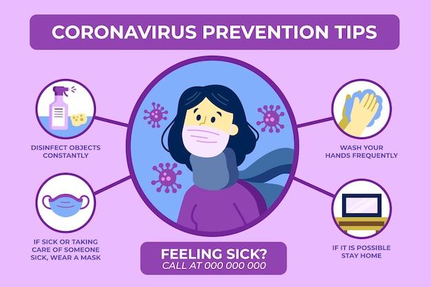 コロナウイルス予防のヒントのコンセプト 無料ベクター