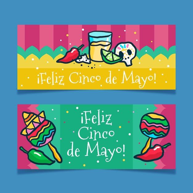 Синко де майо баннеры розыгрыша Бесплатные векторы