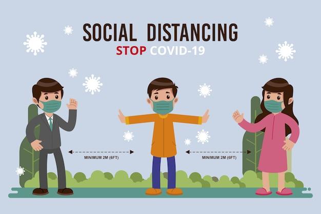 社会的距離の概念 無料ベクター