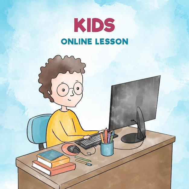 Иллюстрация с детьми, берущими уроки онлайн Бесплатные векторы