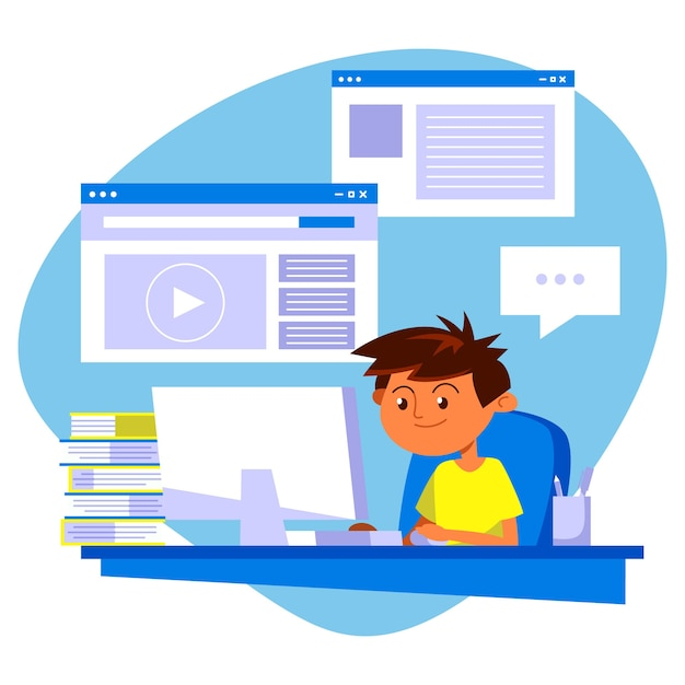 Иллюстрация с детьми брать уроки онлайн дизайн Бесплатные векторы