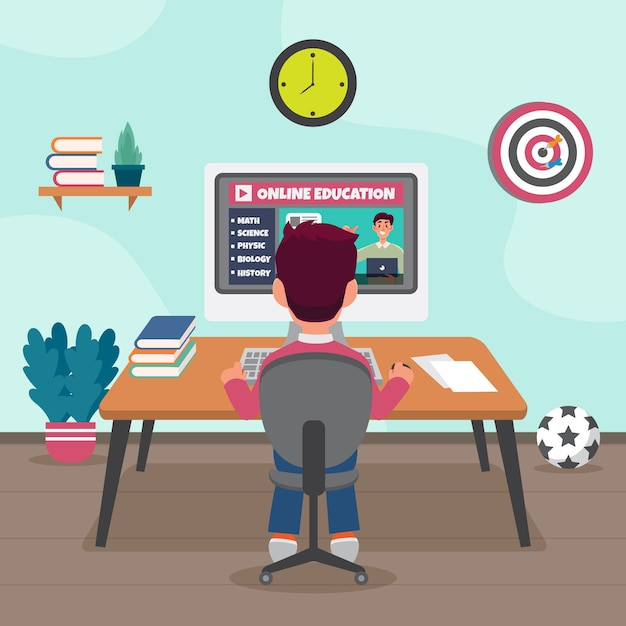 Иллюстрация с детьми брать уроки онлайн тему Бесплатные векторы