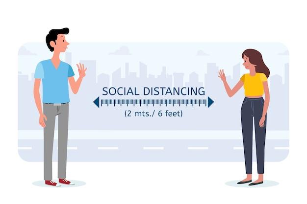 Концепция социальной дистанцирования Бесплатные векторы