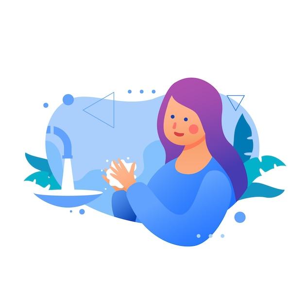 Женщина с фиолетовыми волосами моет руки Бесплатные векторы
