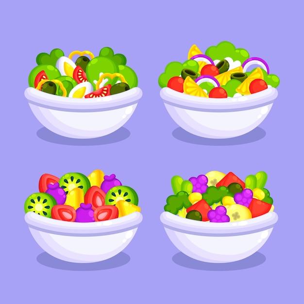 白いボウルの新鮮なフルーツサラダ 無料ベクター