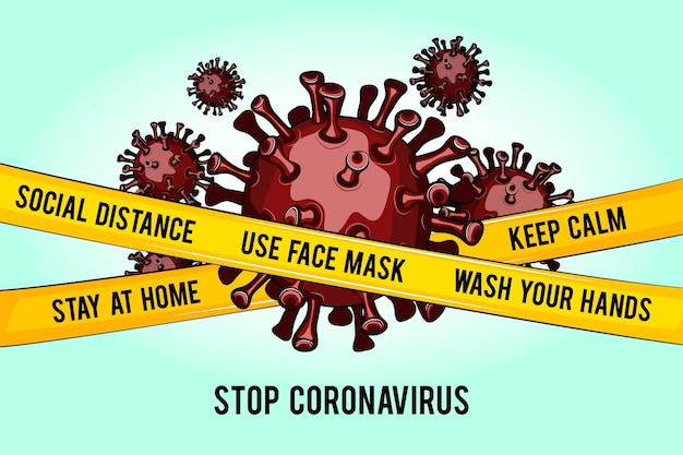 閉じ込められたコロナウイルス菌を止める 無料ベクター