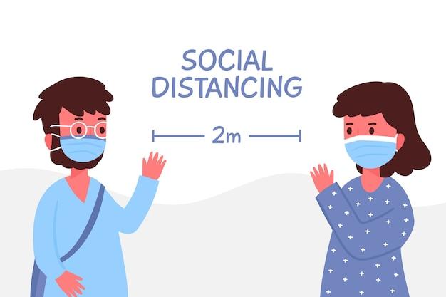 Концепция социального дистанцирования иллюстрации Бесплатные векторы