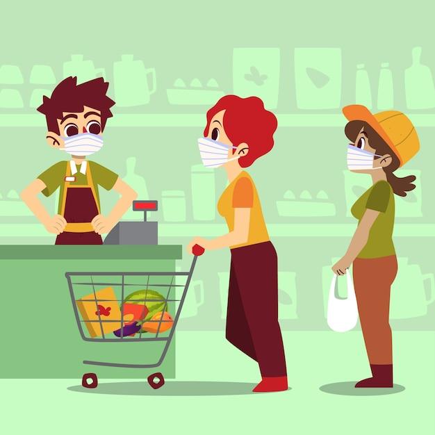コロナウイルススーパーマーケットのデザイン 無料ベクター