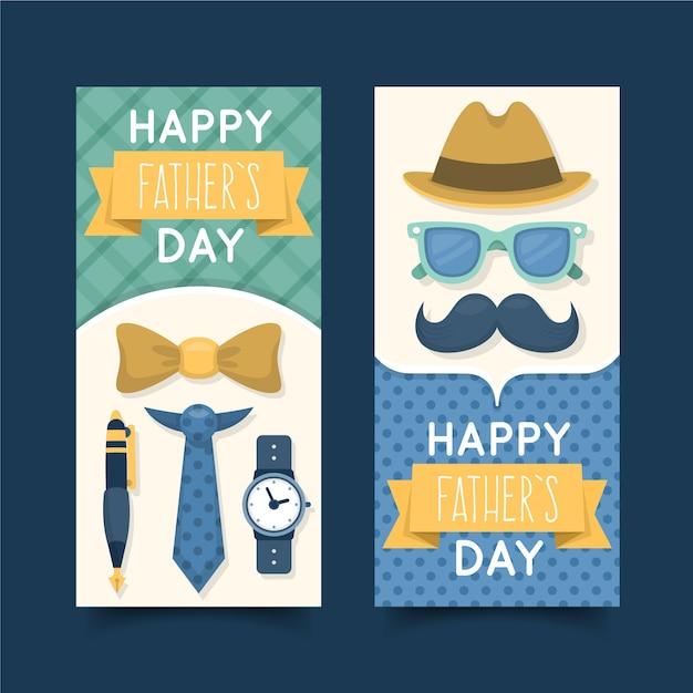 Плоский дизайн баннеров на день отца с усами Бесплатные векторы