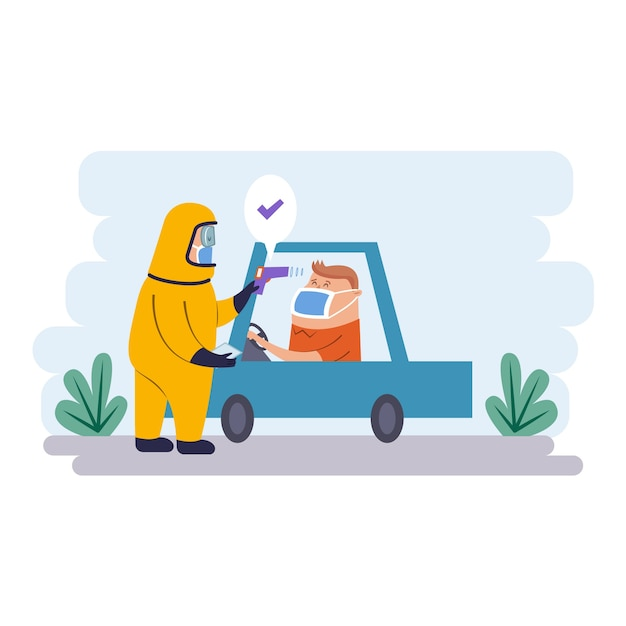 体温ドライバーと防護服を着た人を確認する 無料ベクター