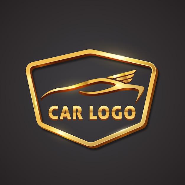 Реалистичный металлический логотип автомобиля Бесплатные векторы