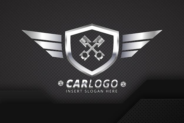 Реалистичный металлический шаблон логотипа автомобиля Бесплатные векторы