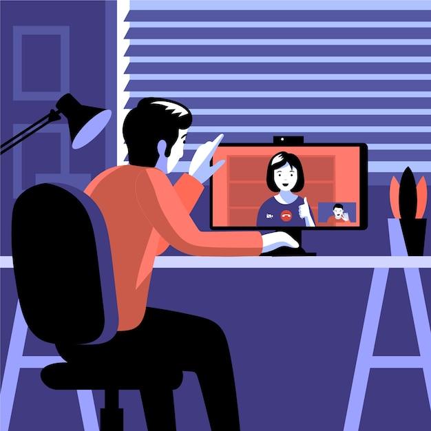 Видео-звонки друзей на компьютер Бесплатные векторы