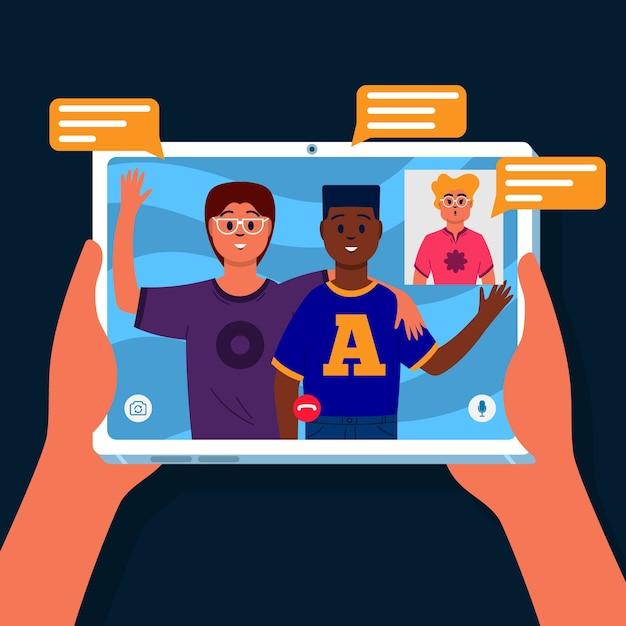Концепция видеозвонка с планшета Бесплатные векторы