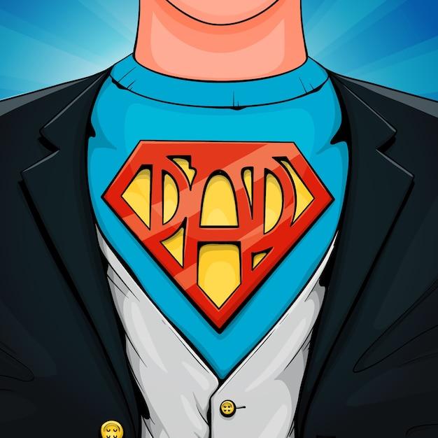 День отца супергероя Бесплатные векторы