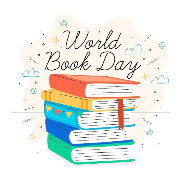 Ручной обращается дизайн всемирный день книги Бесплатные векторы
