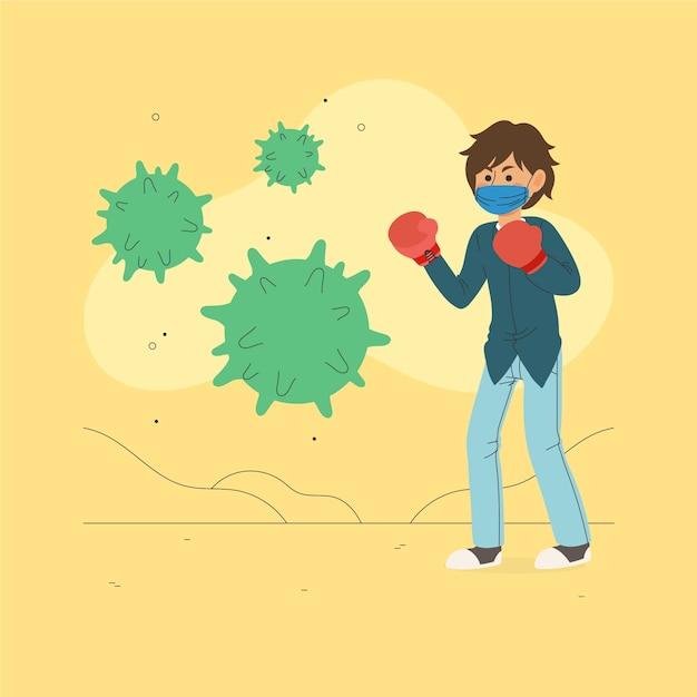 Человек борется с вирусом в боксерских перчатках Бесплатные векторы