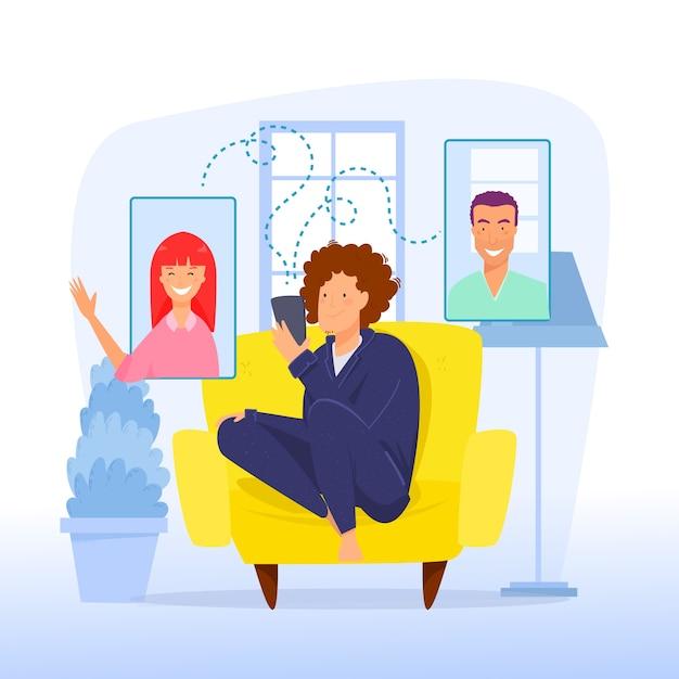 Концепция видео звонка с людьми в чате Бесплатные векторы