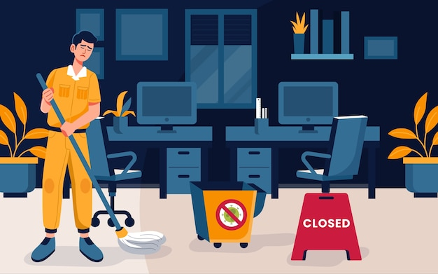 空のオフィスを掃除する男 無料ベクター