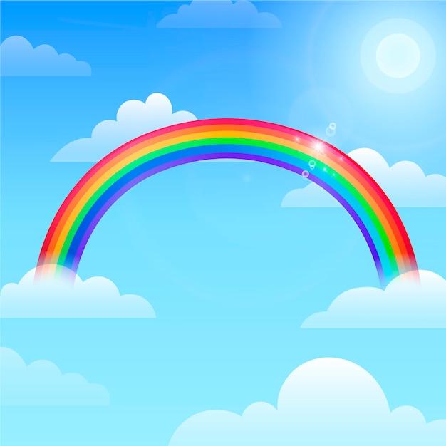 Плоский дизайн радуга в небе Бесплатные векторы