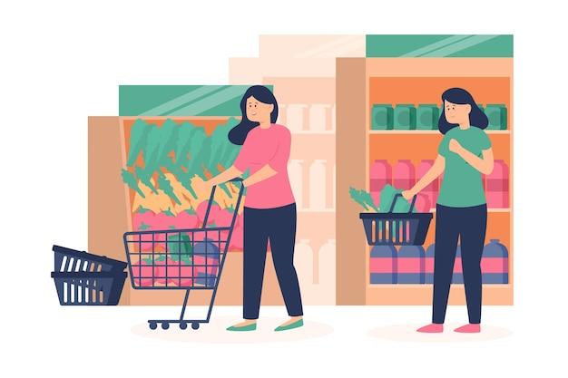 人々の食料品の買い物イラスト 無料ベクター