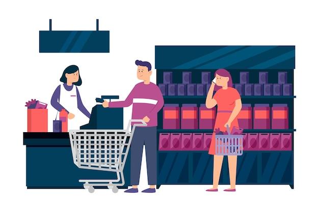 食料品の買い物を示す人々 無料ベクター