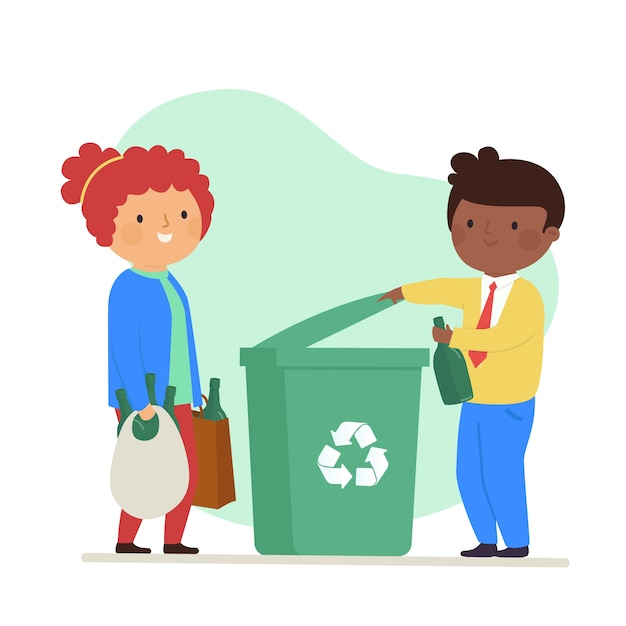 幸せな女と男のゴミをリサイクル 無料ベクター