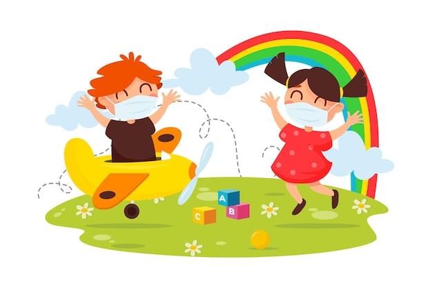 医療用マスクを着用しながら遊ぶ子供たち 無料ベクター
