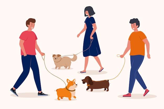 犬を散歩する人々のグループ 無料ベクター