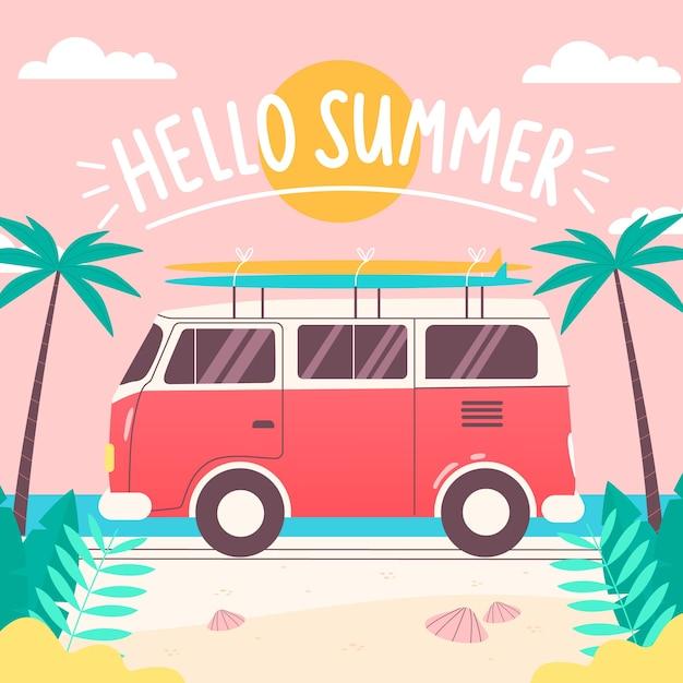 Обои рисованной привет лето Бесплатные векторы