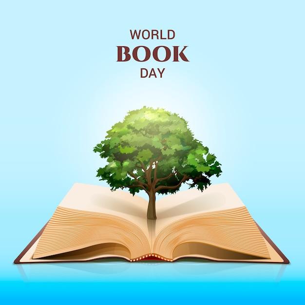 Всемирный день книги и волшебное зеленое дерево Бесплатные векторы