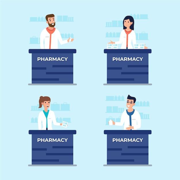 Набор иллюстрированных фармацевтов, работающих Бесплатные векторы