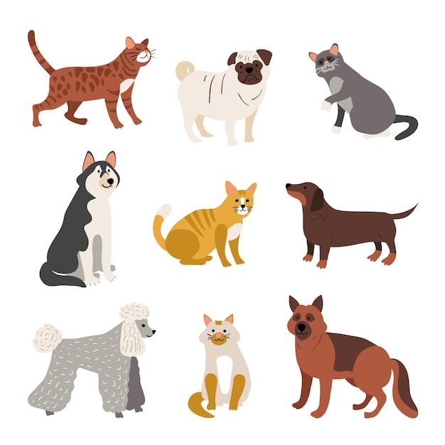 Разный ассортимент домашних животных Бесплатные векторы