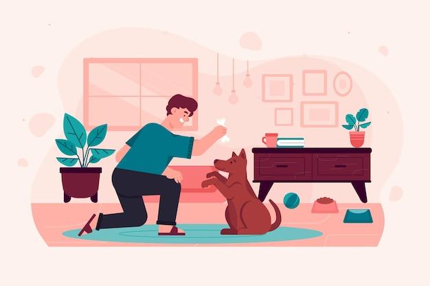 Человек тренирует свою собаку делать трюки Бесплатные векторы