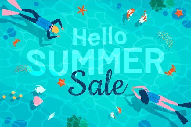 Плоский дизайн привет летняя распродажа баннер Бесплатные векторы
