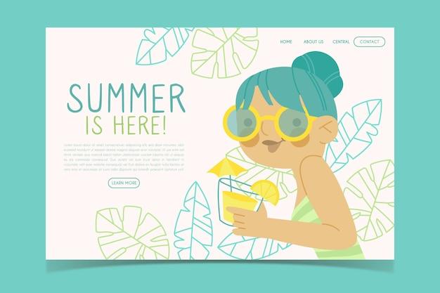 Привет лето веб-шаблон Бесплатные векторы