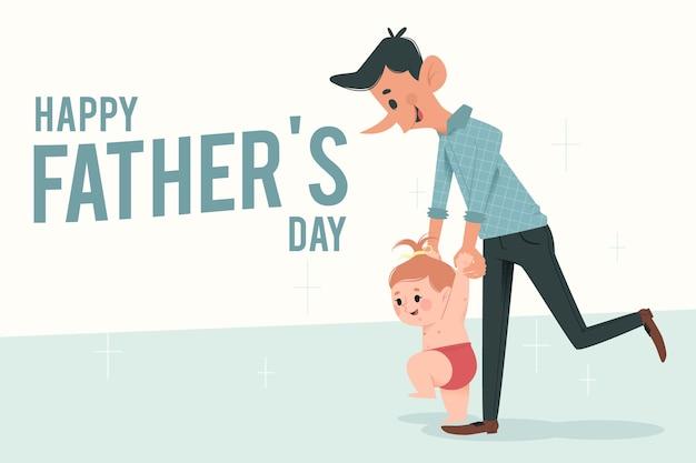 Счастливый день отца плоский дизайн Бесплатные векторы