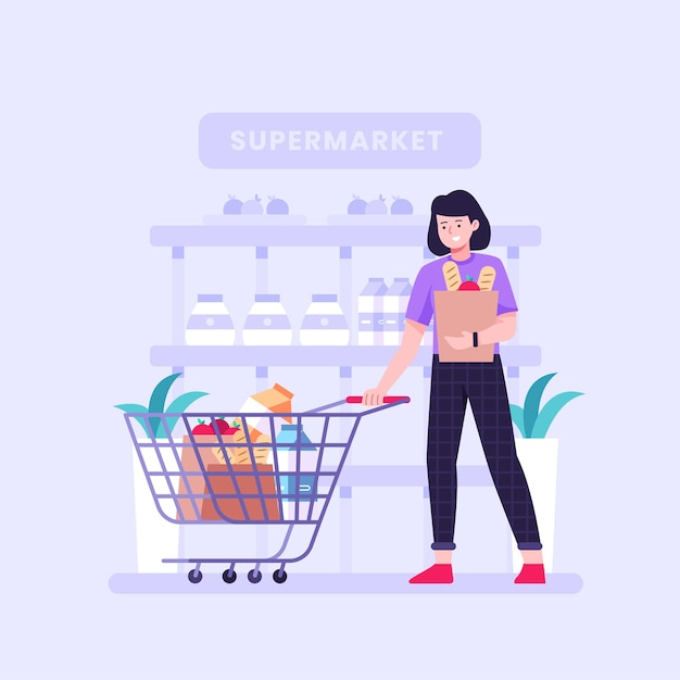 食料品を買い物する人々のイラスト 無料ベクター
