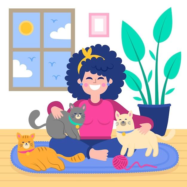 Счастливая девушка играет с кошками и собаками Бесплатные векторы