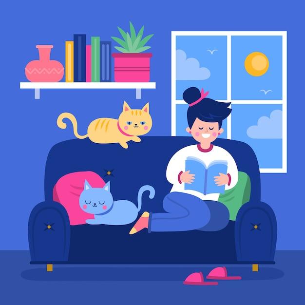 Женщина читает и имеет милые кошки Бесплатные векторы