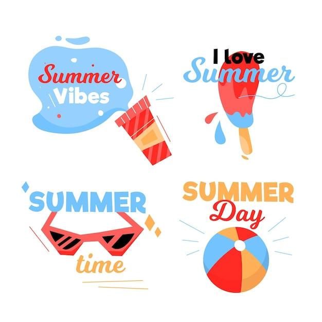 Коллекция рисованной летних этикеток Бесплатные векторы