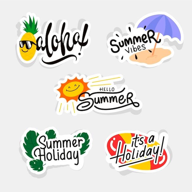 Плоский дизайн коллекции летних этикеток Бесплатные векторы