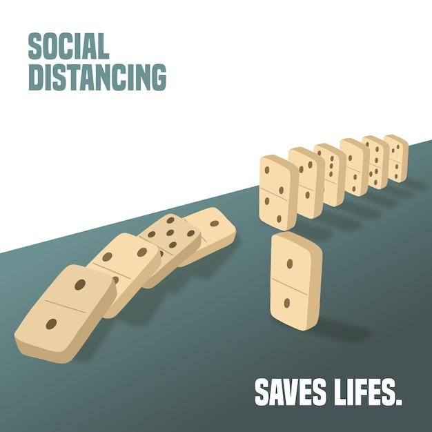 Социальное дистанцирование с концепцией фигур домино Бесплатные векторы
