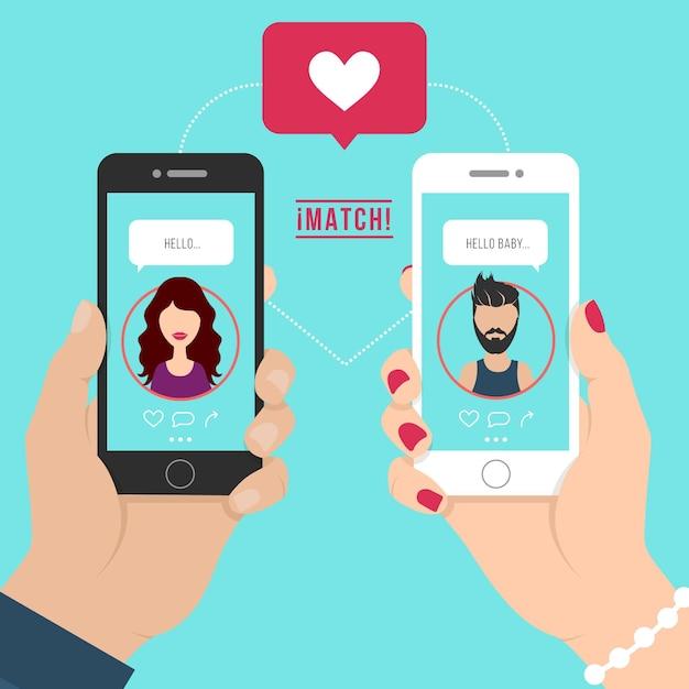 男と女のイラストがアプリの概念図をデート 無料ベクター