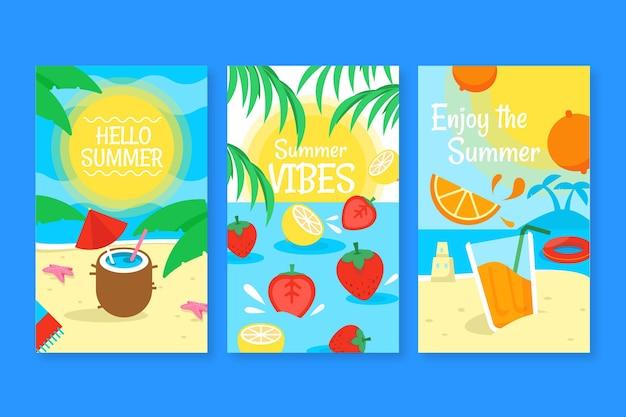 Плоский дизайн шаблона летней карты Бесплатные векторы