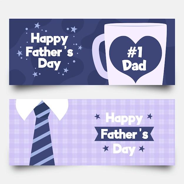 Счастливые отцовские баннеры с кружкой и галстуком Бесплатные векторы