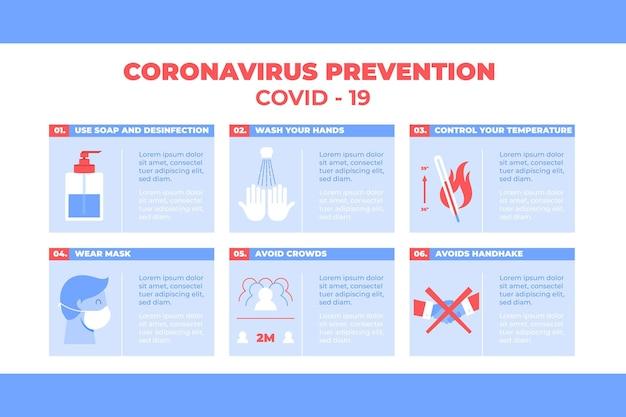 Коронавирусная профилактика и безопасность образа жизни инфографики Бесплатные векторы