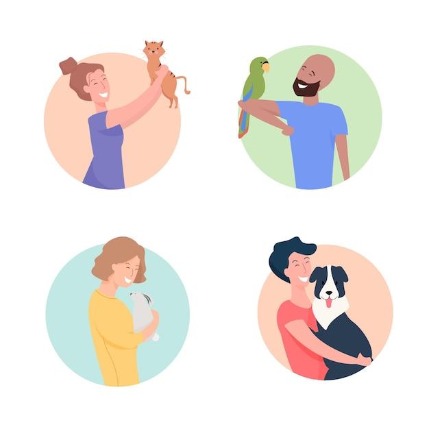 Люди играют со своей коллекцией домашних животных Бесплатные векторы
